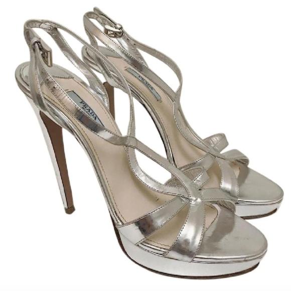 fc5efb8284 Prada Shoes | Silver Platform Sandals Size 385 | Poshmark
